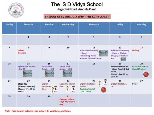 Schedule of Events - July 2019 - Pre KG to Class 1