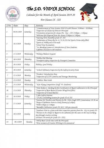 activity caledar  IX - XII